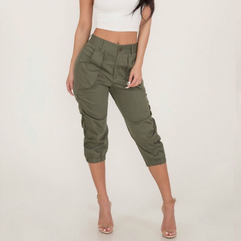 Women Casual Cargo Pants Elastic Waist Trousers High waist 3/4 Sweatpants Pockets Solid Slim Fit Pencil Capris Bottoms Hot Sale