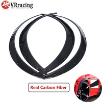 VR   4 Pcs Carbon Fiber Car Fender Flares Arch Wheel Eyebrow Protector/mudguards Sticker Universal VR CFF02