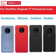 Originele Oneplus 7T Case Voorraad HD1903 Officiële Doos 100% Origineel (Bulk Prijzen) oneplus 7T Siliconen Nylon Zandsteen Karbon Cover