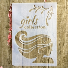 A4 29 * 21cm beauty Girl DIY Stencils Wall Painting Scrapbook Coloring Embossing Album Decorative Paper Card Template