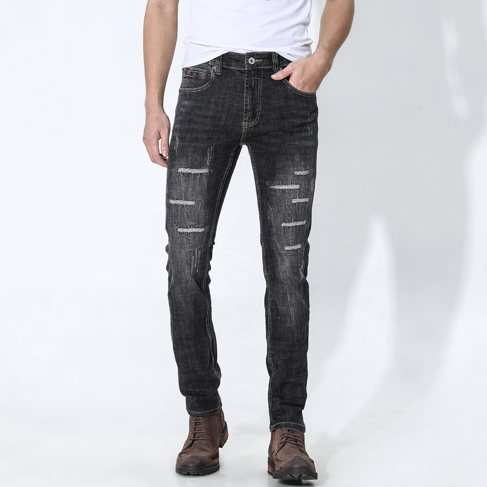 Trendy Retro Light Jeans Men's Slim Small Straight Stretch Printing Holes Jeans
