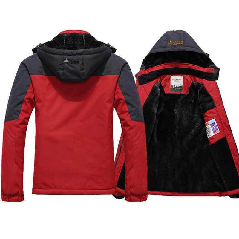 Musim Dingin Jaket Pria Penahan Angin Ditambah Beludru Tebal Hangat Tahan Angin Mantel Bulu Pria Militer Hooded Anorak Jaket Pria Jaket Musim Dingin