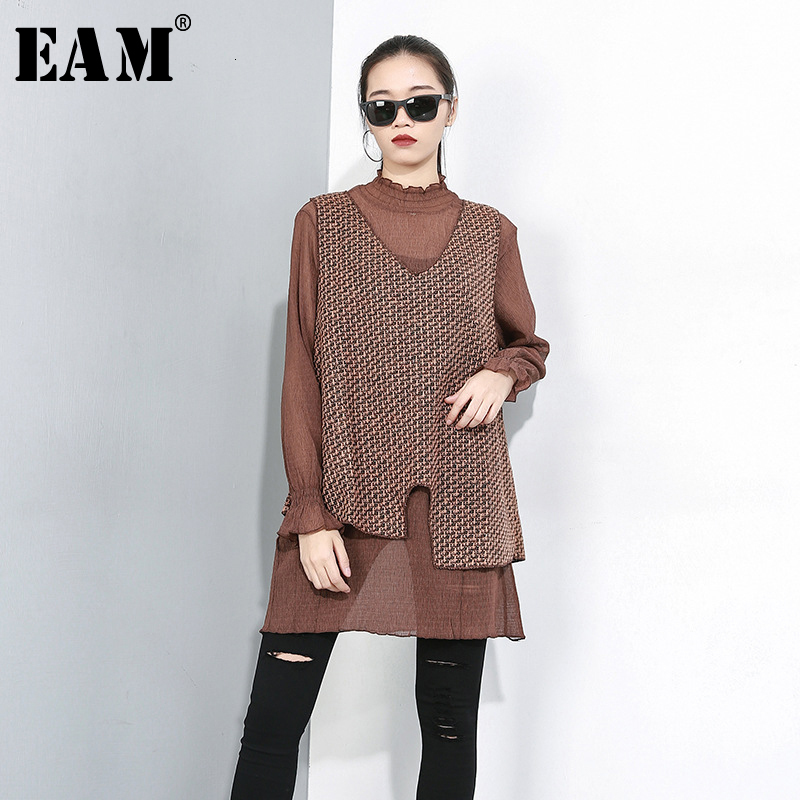 [EAM] Women Perspective Two Pieces Suit T-shirt New Ruffled Long Flare Sleeve Fashion Tide All-match Spring Autumn 2019 1D076