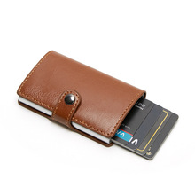 RFID Blocking Vintage Business Wallet  Automatic Credit Card Holder Case Aluminum Alloy Anti-Theft Bank