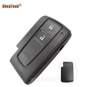 Image 1 - OkeyTech carcasa de repuesto para llave remota, 2 botones, para Toyota Prius Corolla Verso, tarjeta inteligente sin hoja