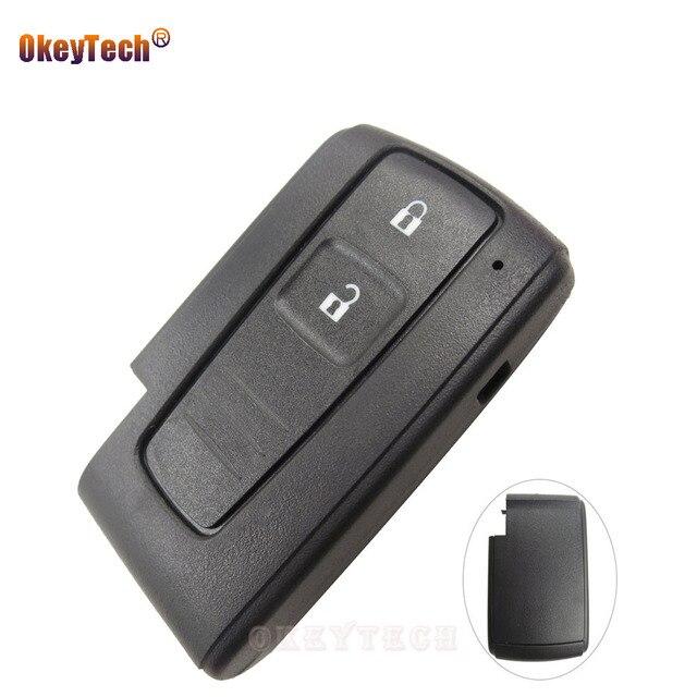 OkeyTech carcasa de repuesto para llave remota, 2 botones, para Toyota Prius Corolla Verso, tarjeta inteligente sin hoja