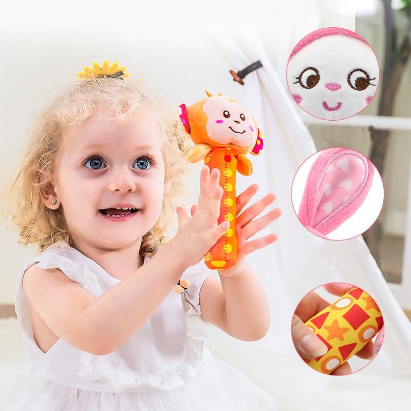 Детские Младенцы Новорождённые плюшевые погремушка-грызунок раннее кольцо для девочек игрушка образование колокольчик рука милые