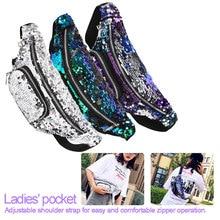 Sequins Holographic Fanny Pack Fashional Waist Pack Women's Laser Chest Waist Bag Women Belt Bag Bum Bag 2019 New black sequins embellished bum bag with waist belt