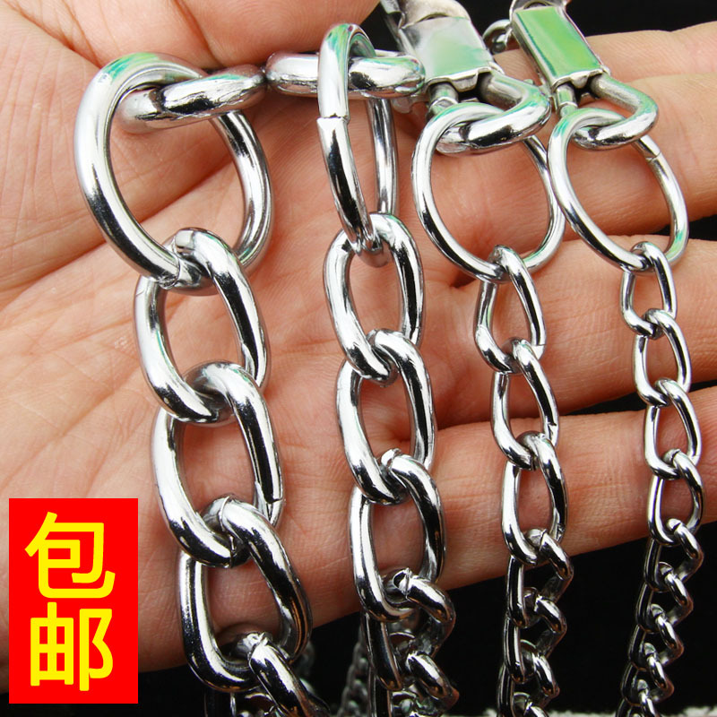 Dog Chain Pet Traction Rope Metal Chain 1.7 M + Neck Ring Stainless Steel Large And Medium-sized Dog Suppository Dog Rope