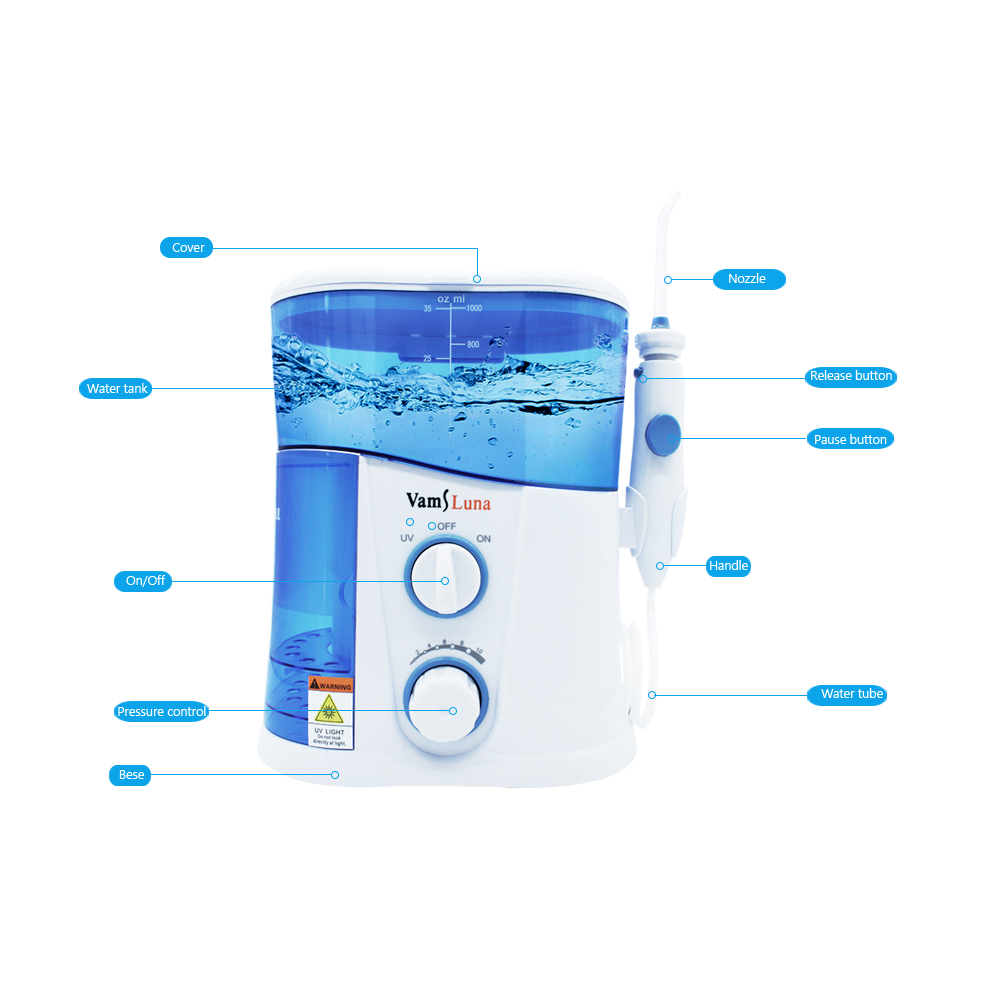 Image 3 - VamsLuna Water Flosser   O.two.O Dental Oral Irrigator Spa With 1000ML Tank And UV Disinfection For 7 Nozzles With Spain Manual-in Oral Irrigators from Home Appliances