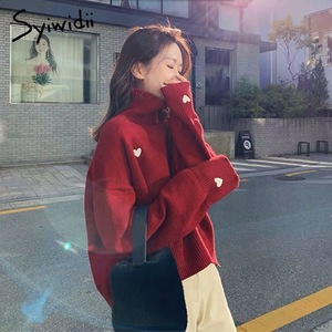syiwidii women sweater pullover Embroidery heart Turtleneck knit sweater Batwing Sleeve winter clothes women korean top 2020 new