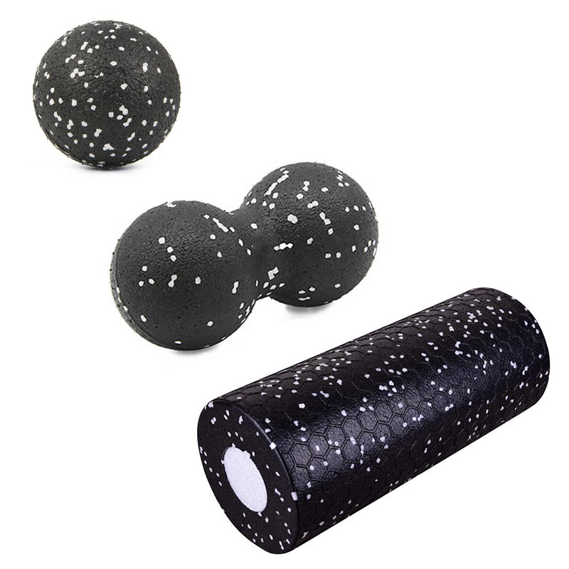 2 in 1 EPP High Density Foam Roller and Fitness Massage Balls Set GYM Yoga Peanut Ball Therapy Relax Muscle Release Exercises