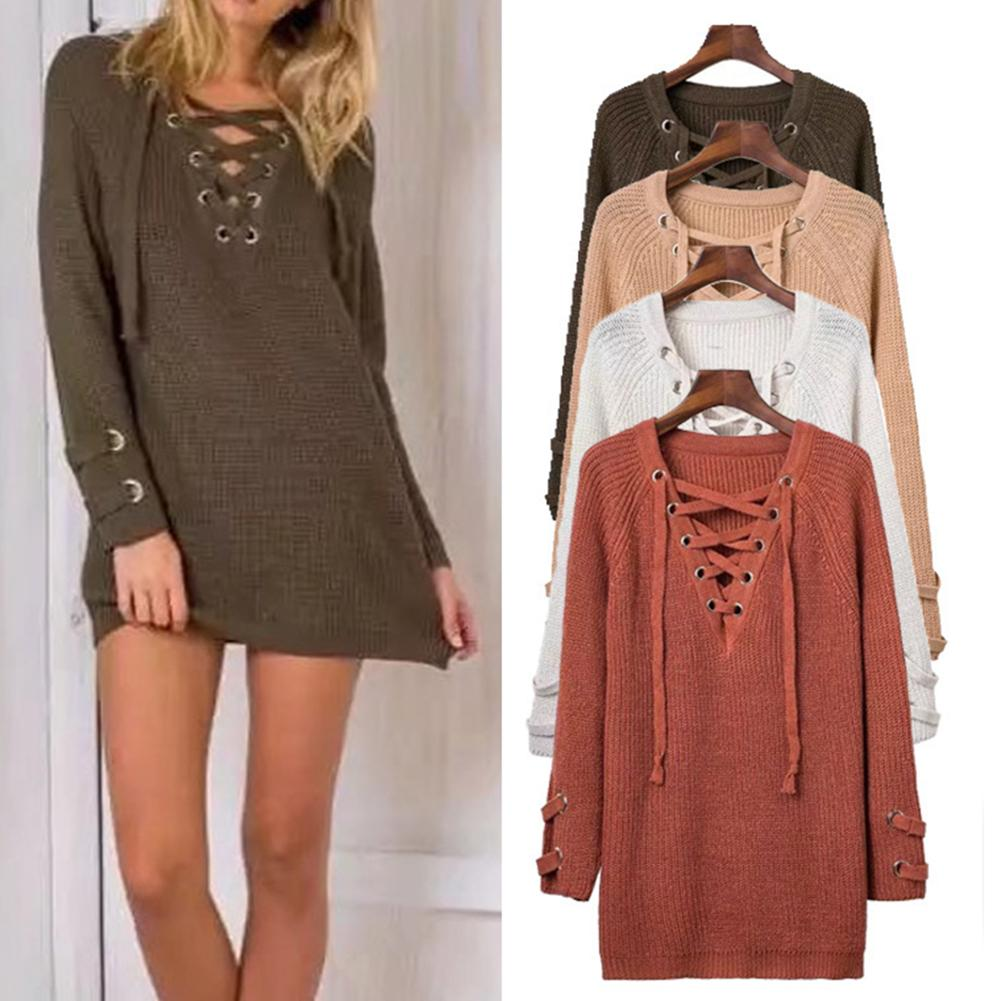 Women Long Sleeve V Neck Chest Bandage Hollow Strap Cuff Loose Mini Sweater Dress