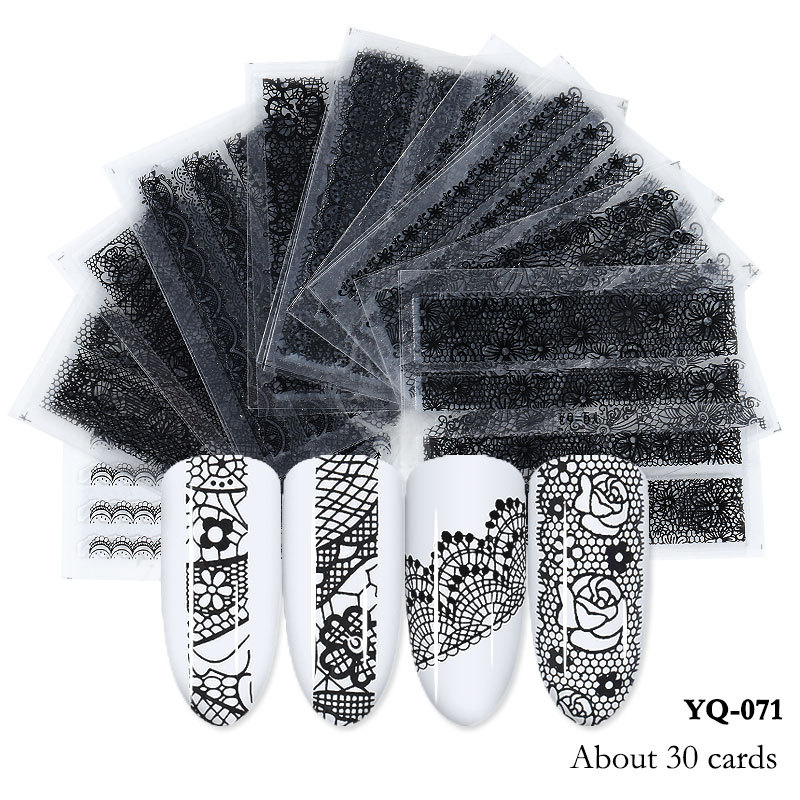30pcs 50PCS Set Mixed Design New Nail Art 3D Sticker Set Black Lace Gold Flower Water Decal Slider Wraps Decor Manicure in Stickers Decals from Beauty Health