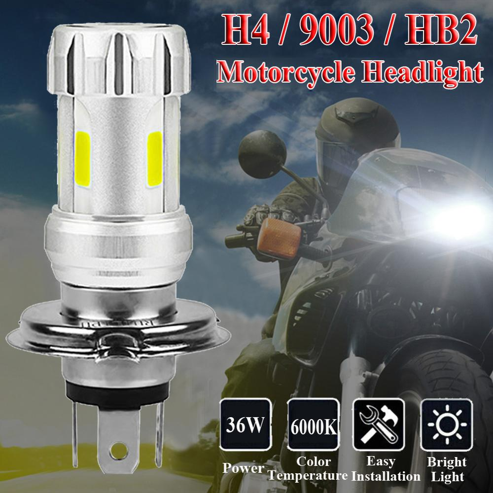 Motorcycle Headlight Bulbs H4 White 36W LED Lamps COB 6000K Motor Bike DC 12V Headlamp