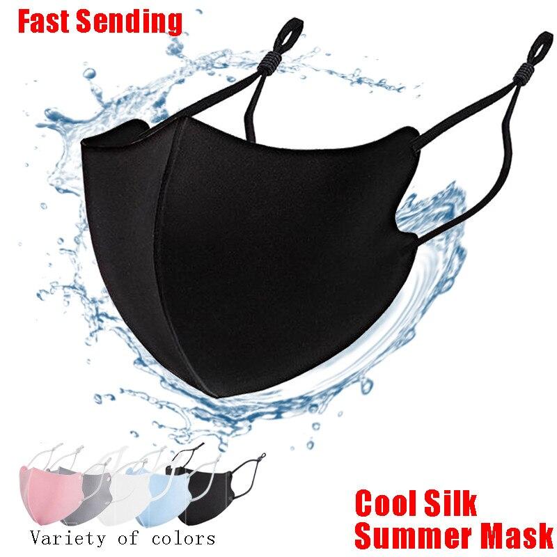 Mascarilla 3D de algodón y seda fría para adultos, máscara a prueba de agua, antipolvo, a prueba de viento, lavable, reutilizable