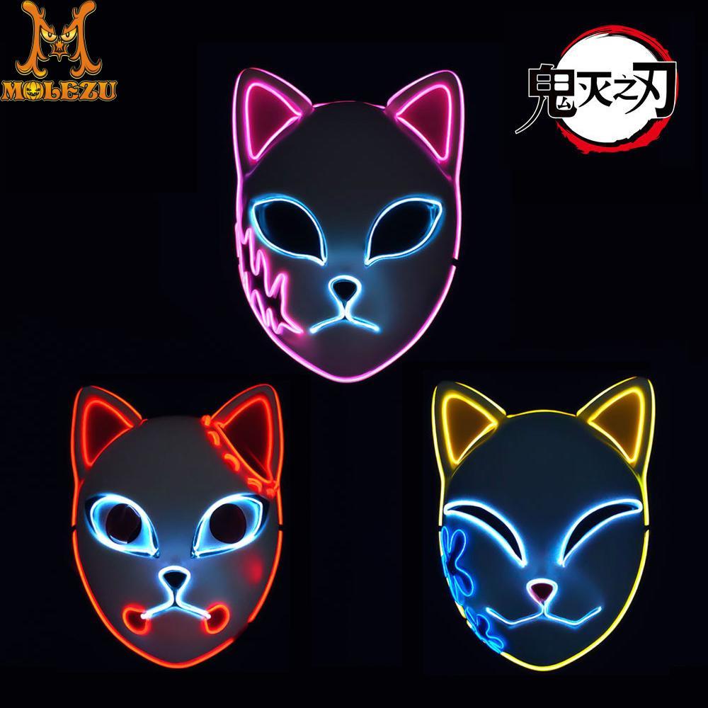 Molezu Anime Demon Slayer Kimetsu No Yaiba Tanjiro Mask Cosplay Sabito Makomo Masques Halloween Costume Props With LED