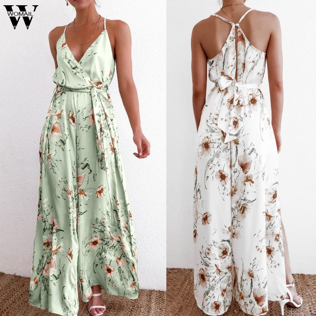 Womail Women Jumpsuits Summer Spaghetti Strap V Neck Print Sleeveless Loose Wide Leg Trousers Backless Playsuit Split Holiday P0