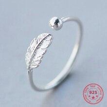 Authentic100 anillo ajustable de Plata de Ley 925 con pluma, joyería fina, accesorios elegantes para fiesta