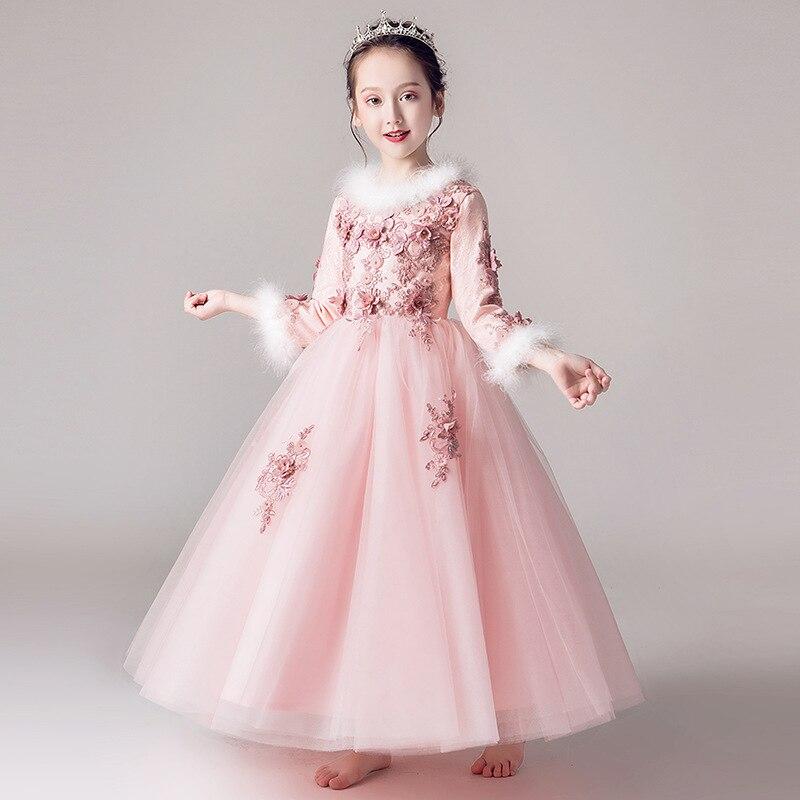 2019 New Style Girls Piano Costume CHILDREN'S Dress Princess Dress Puffy Yarn Flower Boys/Flower Girls Small Host Late Formal Dr