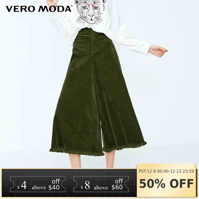 Vero Moda 2019 New Women's Leisure National Style Raw-edge Cuffs High Waist Wide Leg Casual Capri Pants | 31846J514