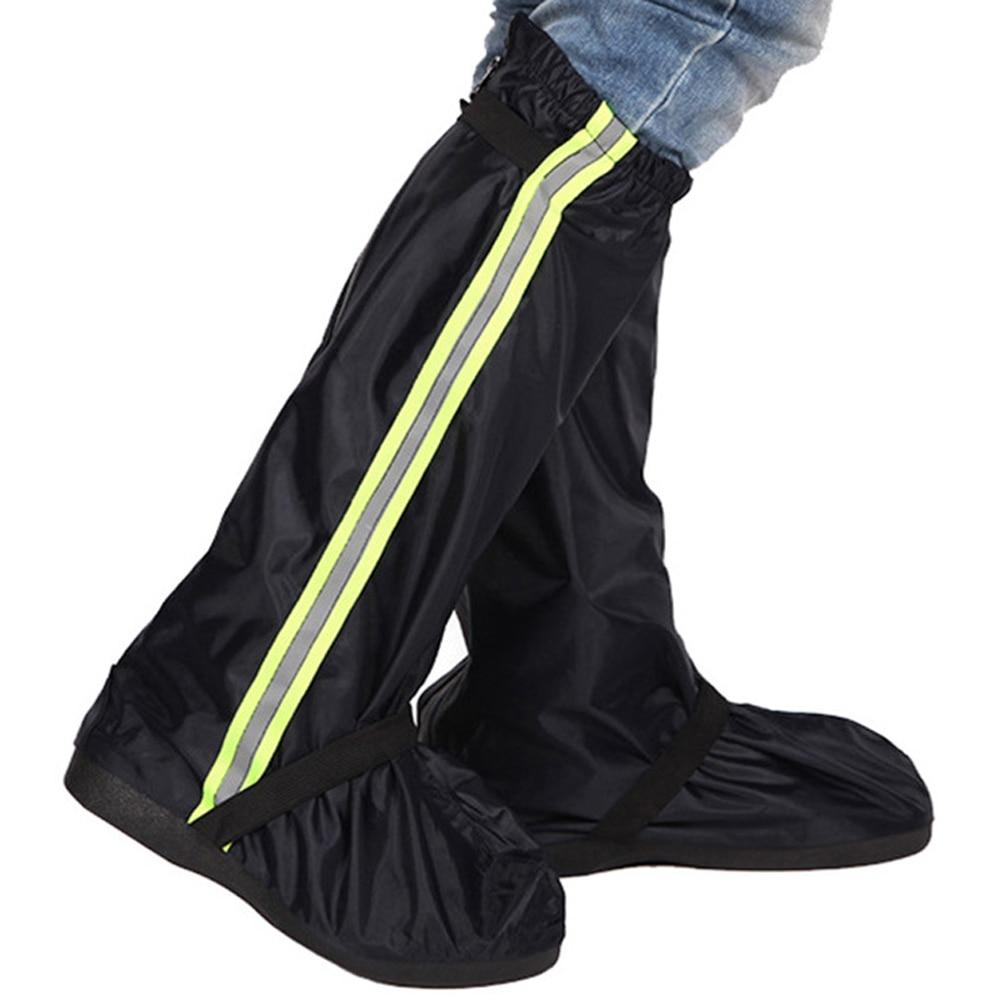 Men Women Reflective Tape Rain Boot Long Adults Protectors Bike Cycling Waterproof Shoe Cover Motorcycle Oxford Cloth Non Slip