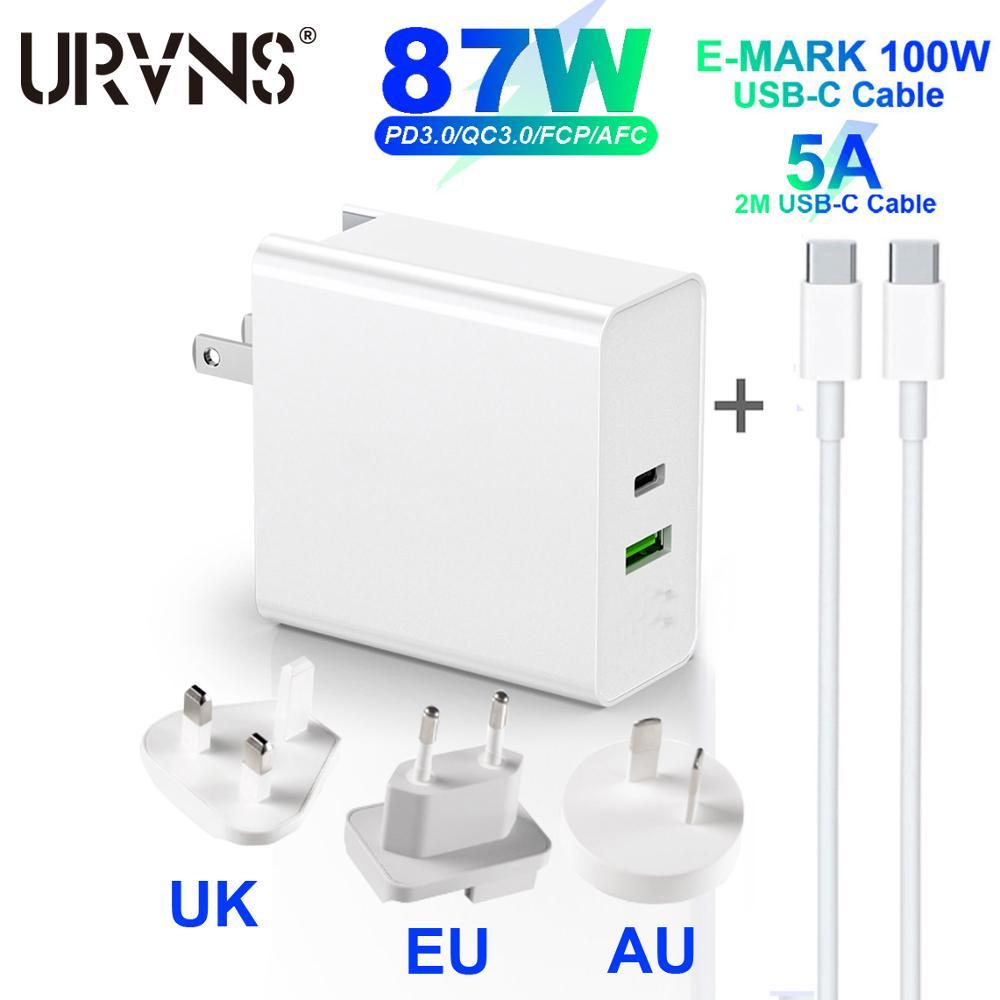 URVNS двойной порт 87 Вт USB C PD адаптер для MacBook USB-C ноутбуков, USB настенное зарядное устройство для Samsung iPhone iPad US UK EU AU адаптер вилки