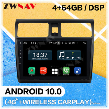 Carplay Android 10.0 Screen Car Multimedia DVD Player for Suzuki Swift 2005-2010 WiFi GPS Navigation Auto Radio Stereo Head Unit image