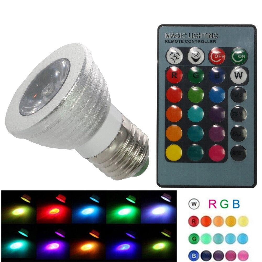 6W High Power E27 RGB LED Bulb Light 16 Color 85-265V 110V 220V Lampada Changing Lamp Spotlight With Remote Controller