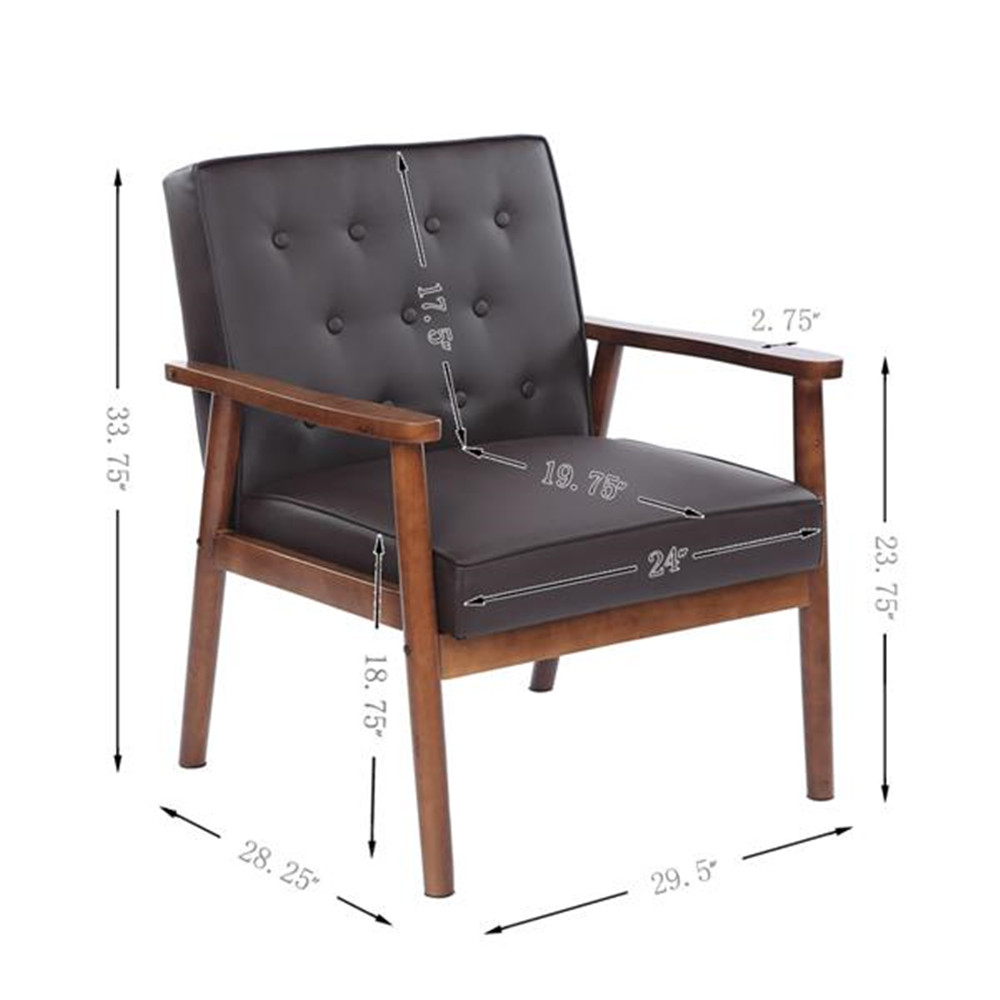Modern Pu Leather Fabric Upholstered Wooden Lounge Chair Gray