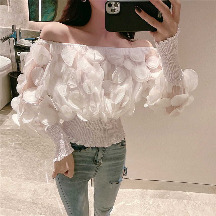 H137fa8b5184b47c085784be8bfe9061er - Sexy Off Shoulder womens tops and blouses Mesh Sheer Puff Sleeve Tops Summer 3D Flower Vintage White Women Shirt Blouse