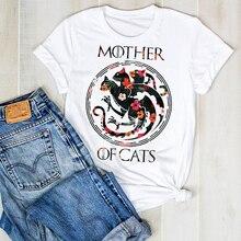 Women Lady Cartoon Mother Cat Flower Print Fashion Summer Ladies T Tee Tshirt Wo