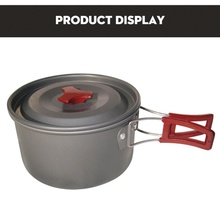 Portable Outdoor Hiking Camping Cooking Pan Pot Cookware Aluminum Picnic Travel Tableware Non-stick Pots Pans Utensils with Bag недорого