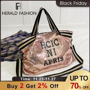 Image 1 - Herald Fashion sac à main Sequin femmes, sac grande capacité, fourre tout à poignée supérieure, sac à bandoulière Shopping, décontracté