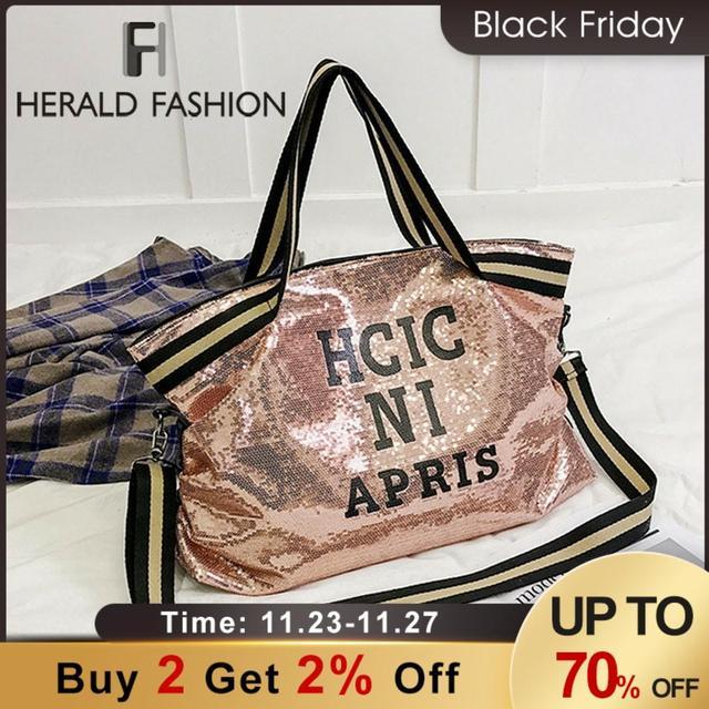 Herald Fashion sac à main Sequin femmes, sac grande capacité, fourre tout à poignée supérieure, sac à bandoulière Shopping, décontracté