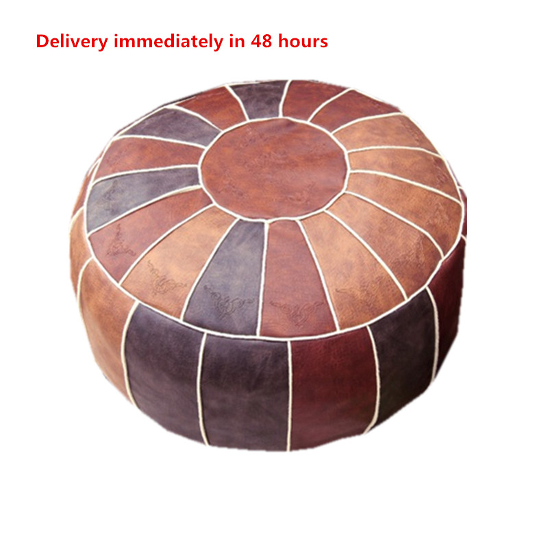Handmade Moroccan Pouf Living Room Decor - Hassock & Ottoman Footstool - Round & Large Ottoman Pouf - Stuffed Home Wedding Gifts