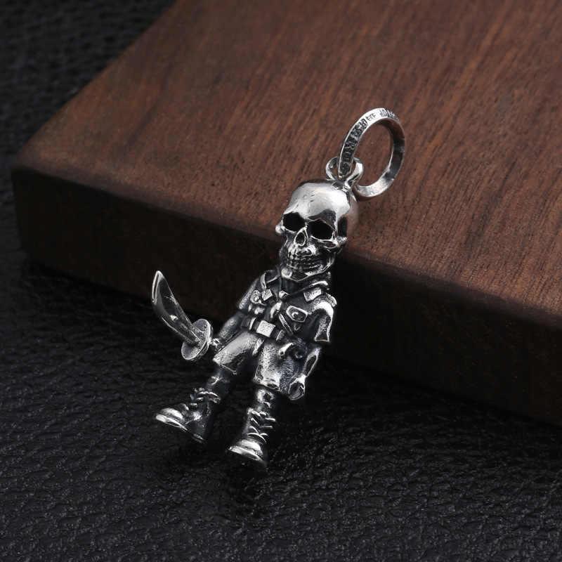 925 пробы серебряные ювелирные изделия Модный кулон креативный череп солдат