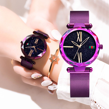 DOM Women Fashion Purple Quartz Watch Lady Steel Watchband High Quality Casual Waterproof Wristwatch Gift for Girl G-1244PK-1M1