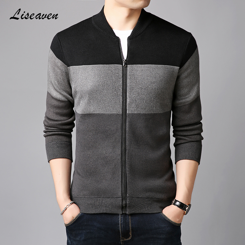 Liseaven Men Jackets Patchwork Color Coat Autumn Winter Cardigans Sweaters Knitwear Warm Sweatercoat Cardigans Men's Clothing