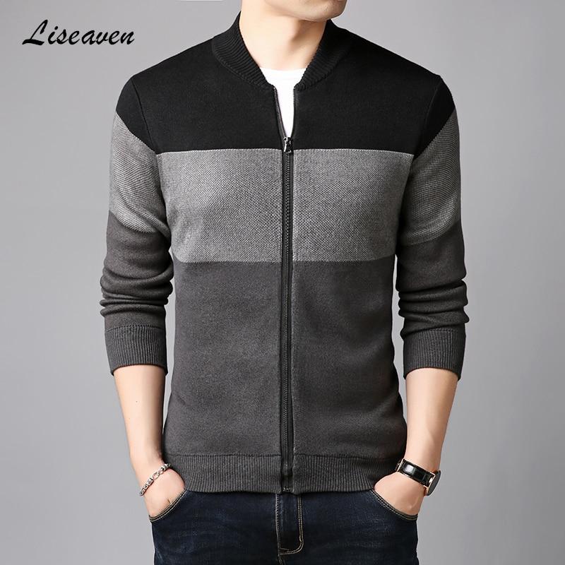 Liseaven Men Jackets Patchwork Color Coat Autumn Winter Cardigans Sweaters Knitwear Warm Sweatercoat Cardigans Men's Clothing