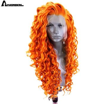 Anogol Wig Orange Synthetic Lace Front Wig with Free Part Long Kinky Curly Wig for Women Cosplay Heat Resistant Fiber Wigs free shipping red hair kinky curly synthetic wig for black women 180 nsity lace front wigs heat resistant fiber