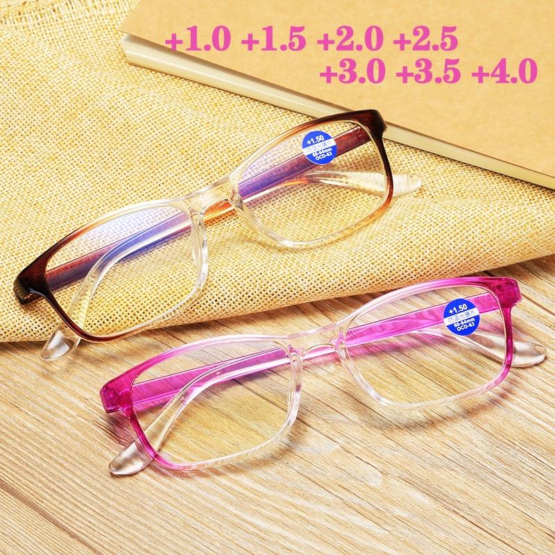 Dégradé couleur mode lunettes de lecture Anti lumière bleue presbytie lunettes hommes femmes lunettes avec + 1.0 1.5 2.0 2.5 3.0 3.5 4.0