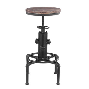 iKayaa Modern Metal Industrial Bar Stool Height Adjustable Swivel Pinewood Top Kitchen Dining Chair Pipe Style Barstool Footrest