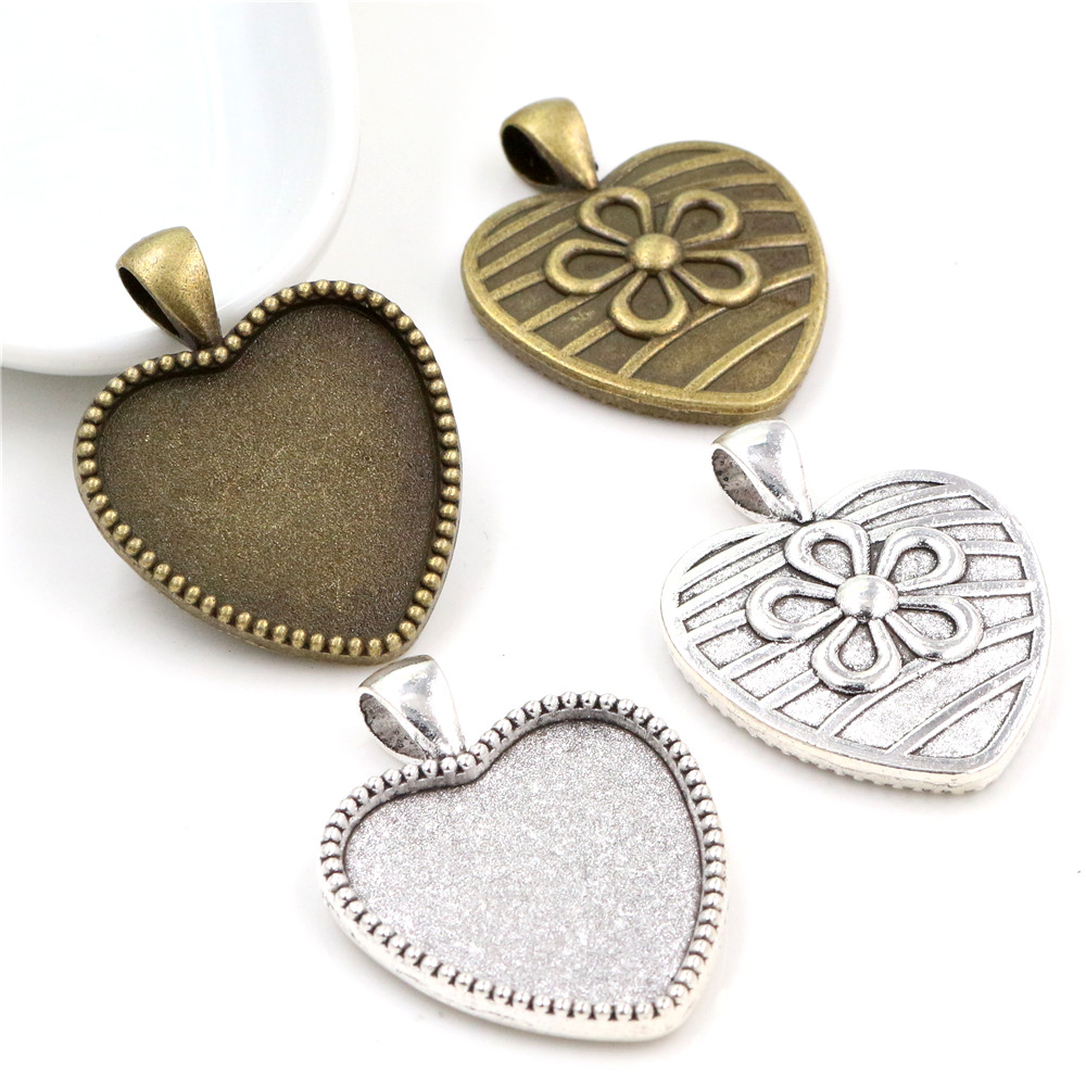 New Fashion 5pcs 25mm Inner Size Antique Bronze And Antique Silver Colors Plated Heart Cabochon Base Setting Charms Pendant