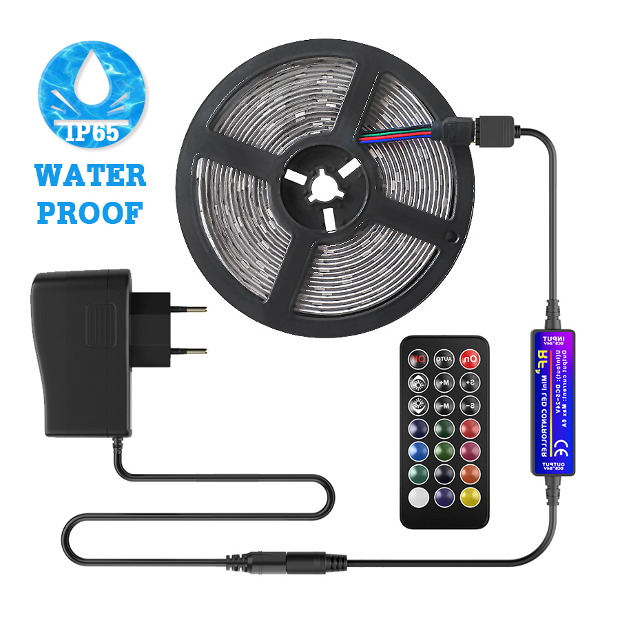 Waterproof Led Strip 12V Multicolor Rgb Led Light Tape 4M/5M/10M 2835 Flexible Ribbon Lamp Power Supply Remote Controller Set