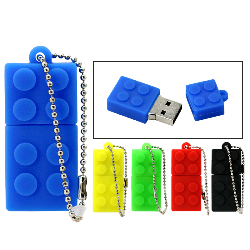 PenDrive Building Blocks USB 2.0 Stick USB Flash Drive Silicone Pen Drive 4GB 8GB 16GB 32GB Children Toy Memory Flash Storage