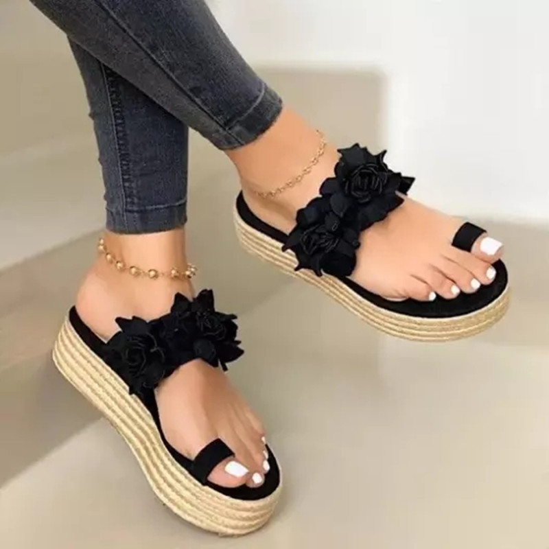 Women New Slippers Fashion Mid Heels Large Shoes Women Straw Woven Flowers Sandals Shoes Ladies Outdoor Casual Platform Slippers