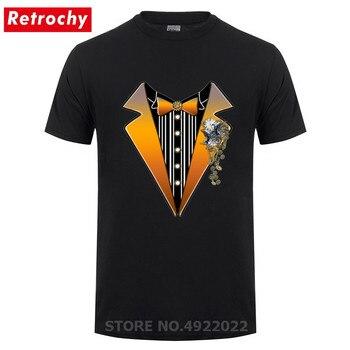 New Arrival Hipster Tuxedo Design Men T Shirt Funny Steampunk Wedding T-Shirts Custom Streetwear Hip Hop Crew Neck Bowtie Tshirt - discount item  45% OFF Tops & Tees