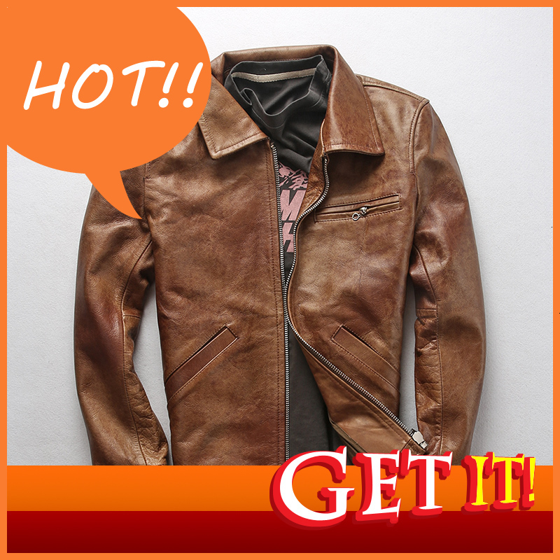 Men's Brand Cow Leather Jacket Autumn Winter Genuine Leather Casual Business Zipper Jacket Motorcycle Biker Warm Thick Coat
