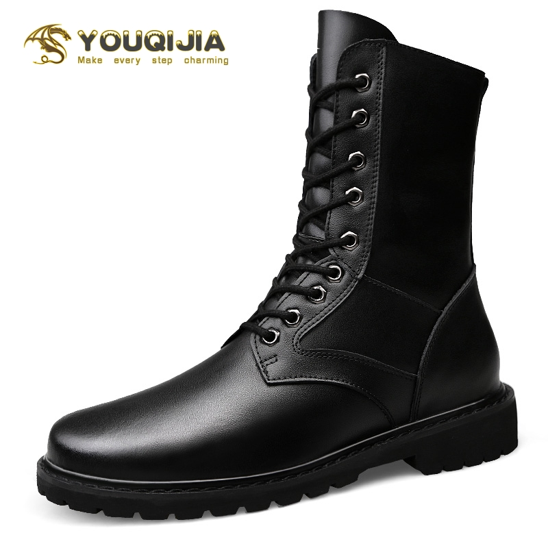 Military High Soft Genuine Leather Martin Boots Men Outdoor Keep warm in winter Snowboots Motorcycle Boots Waterproof Timberland image